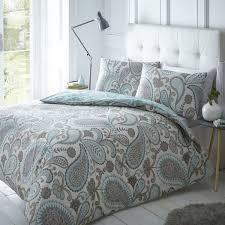 new paisley duvet quilt bedding cover pillowcase set shell pink teal black grey