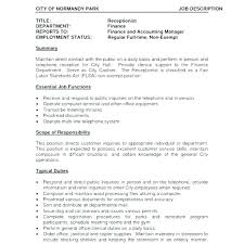 Salon Receptionist Job Description Receptionist Job Description Template