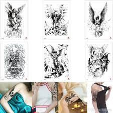 поддельные черное боди арт татуировки Sexy Angel Wing древнегреческий воин дьявол