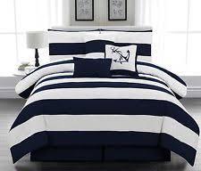 nautical comforter set queen. Modren Queen 7 Pcs Microfiber Nautical Comforter Set Navy Blue Striped Full Queen King Intended Set Queen E