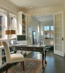 home office doors. Captivating Home Office With Classic Desk And Fluffy Chair Facing White French Interior Doors P