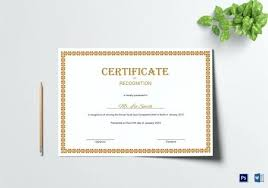 Certificates Of Recognition Templates Certificate Of