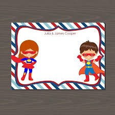 Personalized Superheroes Superheroes Stationery Set For Kids 24 Card Set
