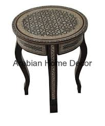 egyptian moroccan mother of pearl mosaic wood 16 round coffee side table