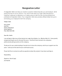 Good Letter Of Resignation Good Resignation Letter Template ...