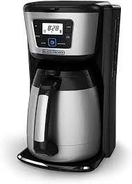 A thermal coffee maker uses the coffee's own heat to keep it hot, rather than stewing it on a hotplate. Amazon Com Black Decker 12 Cup Thermal Coffeemaker Black Silver Cm2035b Kitchen Dining