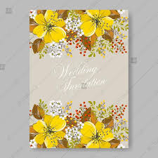 Bridal Shower Template Gorgeous Yellow Anemone Sunflower Autumn Floral Wedding Invitation Vector