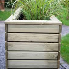 forest garden linear long rectangular wooden planter 120 x 40cm