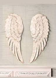 details about off white stunning metal angel wings wall decor set of 2 new