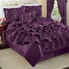 5 piece deep dark purple romantic ruffle comforter bedding set