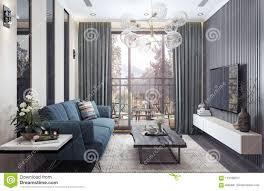 Modern Binnenlands Ontwerp Woonkamer Stock Afbeelding Afbeelding