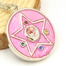 cartoon anime sailor moon necklace pink circle crystal star pendant manga cosplay