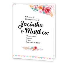 Wedding Ceremony Program Cover Boho Chic Mass Booklet Cover Loving Invitations