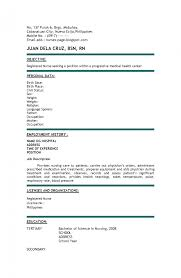 Resume Samples For Nurses With No Experience Cosy New Nurse Resume No Experience About Experienced Rn Nursing 7