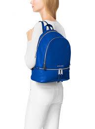womens backpacks michael michael kors rhea large leather backpack electric blue don terrario
