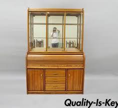 vargas furniture oak wood roll top desk secretary hutch display china cabinet