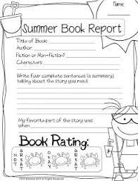 Summer Book Report Freebie There Are 5 Different Book