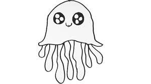 jellyfish drawing for kids. Exellent Drawing How To Draw A Jellyfish  Coloring Pages For Kids Cute Cartoon Drawing To For H