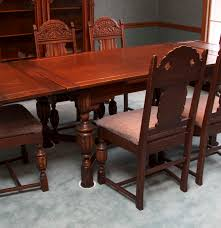 Jacobean Revival Draw Leaf Dining Table And Six Chairs  EBTH - Leaf dining room table