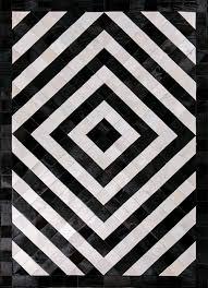 black and white geometric pattern rug