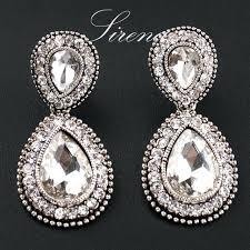 silver chandelier earrings luxury big crystal rhinestone vintage silver color dangle drop chandelier earrings whole prom
