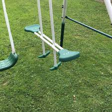 4 piece outdoor kids play set swing slide seesaw multi function play area