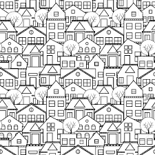 抗ストレス塗り絵リラクゼーション絵画します家や木が付いている都市を描画するためのシームレスなスケッ