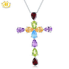 2019 hutang multi color gemstone pendant solid 925 sterling silver natural amethyst garnet citrine topaz fine fashion stone jewelry from shanjumou
