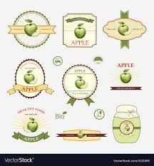 Label Design Templates Apple Green Set Of Label Design And Templates Vector Image