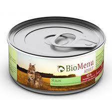 <b>BioMenu ADULT Консервы</b> д/кошек мясной паштет с Языком 95 ...