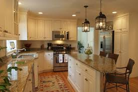 Kitchen:Cool French Country Kitchen With Rustic White Wooden Cabinet Also  Grey Kitchen Counter Plus