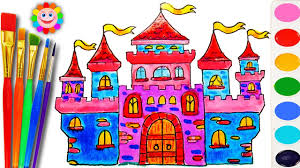 how to draw and color a castle house for kids coloring book with water color for kids