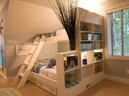 Bedroom:Cool Small Bedroom Design For Kids With Creative Wall Bookshelf  Storage And Wooden Flooring