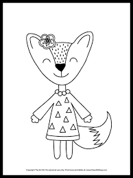 1000 plus free coloring pages for kids including disney movie coloring pictures and kids favorite cartoon characters. Cute Girl Fox With Flower Coloring Page Free Printable The Art Kit