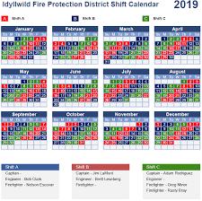 Firefighters Shift Calendar 2020 Duty Shift Calendar
