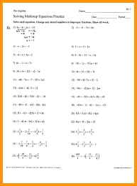 multi step equations worksheet answers shown work solving worksheets with answer