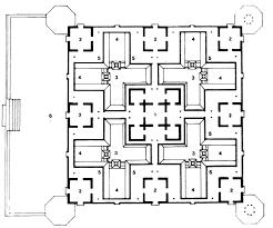third floor plan 1 hall 2 room 3 ground floor terrace 4 first floor terrce 5 second floor terrace 6 entrance porch at ground floor level