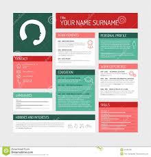 Cv Resume Template Dashboard Stock Illustration Illustration Of