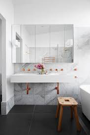 copper and marble bathroom looks divine nonagon style