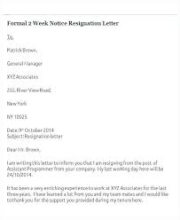 Sample Resignation Letter 2 Weeks Notice Amazing Formal 48 Week Notice Resignation Letter 484 Hour Sample Takedownssco