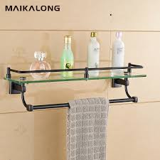 glass bathroom shelf with rail fresh bathroom glass shelf wall mount with towel bar and rail