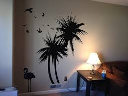 palm tree wall stickers: amazoncom palm trees  ft wall decal with flamingo and birds home amp kitchen