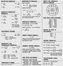 Basic Electronic Formulas Chart Complete Electrical Formulas Sheet Electrical Engineering