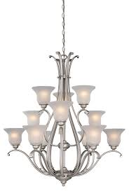 vaxcel lighting ch35412bn monrovia 12 light chandelier in brushed nickel with frosted seeded glass