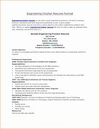 Sample Resume For Diploma Electronics Freshers New Resume Format For