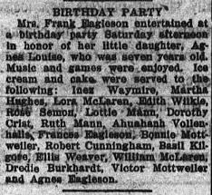 birthday party for Agnes Louise Eagleson - Newspapers.com