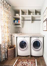 ... Laundry Room Decor with Extra Small Sinks Set aside of Transparent  Vitrage Under Floating Shelf ...