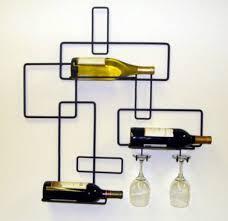 modern wine bottle glasses storage rack wall mounted 3 bottles home bar stand