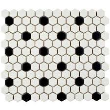 metro hex matte white with black dot 10 1 4 in x 11