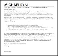 Cover Letter For A Teller Job Head Teller Cover Letter Sample Cover Letter Templates